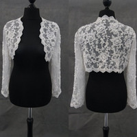 Wholesale pearls bolero jacket for sale - Group buy Modest Ivory Bridal Wraps Long Sleeves Bridal Coat Lace Jackets Pearls Wedding Capes Wraps Bolero Jacket Wedding Dress Wraps Plus Size