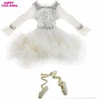 Wholesale rope edging - Handmade Dancing Costume White Ballet Dress Silver Edge Lace Plush Skirt Shoes Clothes For Barbie Doll Dollhouse Accesories Gift