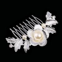 österreichische kristallschmuck perle großhandel-Schöne Blumenhochzeits-Tiara-funkelndes Silber überzogene österreichische Kristallperlen-Brauthaarkämme-Haarschmuck-Haar-Zusätze DHF008