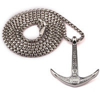 Wholesale Long Anchor Necklace - Fashion Men Navy Wind Retro Style Anchor Pendant Necklace Punk Rock Micro Hip Hop Stainless Steel Jewelry 75cm Long Chains