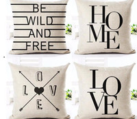 Wholesale Cushion Words - Black And White Style Decorative Cushions Simple Word Style Printed Throw Pillows Car Home Decor Cushion Decor Almofadas Cojines