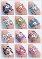 Wholesale Bracelet Slap Infinity - Leather Infinity Noosa Bracelet Mixed 12 Style Fashion Jewelry Charm Multilayer Snap Button Bracelet Ginger Snaps Statement Jewelry-J927