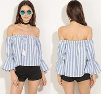 Wholesale Strapless Loose Tops - Fashion Blue Trendy Striped Blouse Womens Off Shoulder Strapless Slach Neck T-Shirt Puff Sleeve Summer Casual Loose Tops S-XL WY7004