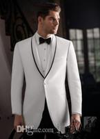 Wholesale Tuxedo Gorgeous Suits - Gorgeous New Arrival White Custom Made Stylish Prom One Button Single Breasted Shawl Lapel Tuxedo Man Bridegroom Wedding Business Suit