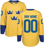 Wholesale forsberg jersey - #8 Rasmus Dahlin 2016 World Cup Team Sweden Hockey Jerseys Kruger Ekholm Forsberg Stralman Hjalmarsson Landeskog Hedman Custom Hockey Jersey