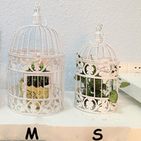 Wholesale Large Metal Bird Cage - Decorative Weddings Bird Cages Iron Metal White Large Cage Holder Party 2016 New Home decor Bird Cage Wedding Cage