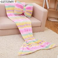 All'ingrosso- GZTZMYMermaid coperta per adulto sirena mermaid tail coperta mermaid coperta per bambini bambini throw bed Wrap super soft sacco a pelo
