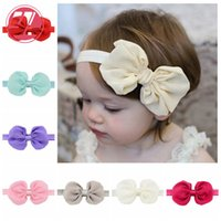 Wholesale Europe Headbands - Children's Fashion Europe And America Chiffon Bow Hair Band Baby Headband Headdress Factory Direct Selling Free post
