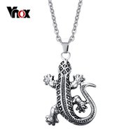 Wholesale lizard necklace jewelry - Lizard Punk Mens Pendants & Necklaces Stainless Steel Pendant for Men Charms Jewelry Free 20 inch Chain