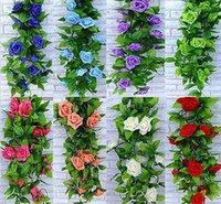 künstlicher hängender efeu großhandel-Künstliche Blumen Silk Blumen Multi Farbe Seide Rose Blume Gefälschte Künstliche Ivy Rebe Hängende Garland Hause Hochzeit Dekor Blumen Künstliche