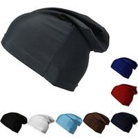 Wholesale Wholesale Biker Caps - Women Men Black Spandex Dome Cap Slouch Spandex Liner Sports Biker FootBall Beanie Hat Headwrap Stretch