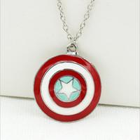 Wholesale Cheap Pendants For Men - Cheap Captain America shield necklaces high quality jewelry The superhero captain America statement necklaces chain for men women