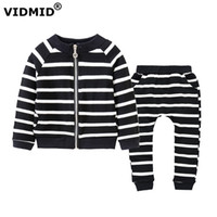 Wholesale Baby Girl Sweater Months - Wholesale- 2017 New spring autumn Baby Girl Korean striped zipper Sweater coat cardigan + pant cotton casual kid girl clothes suits 1045 38