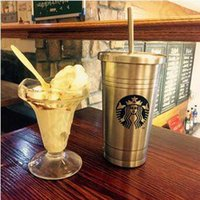 Wholesale Coffee Mug Sleeve - 500ml Classical Starbucks Stainless Steel Mug Sucker Cup Starbucks Coffee Cup With Straw Thermal Insulation Water Bottle CCA4771 100pcs