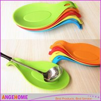 Wholesale free big cook - Big size Spoon pad Silicone Spoon Insulation Mat Spoon Rest Tray Kitchen Utensil Spatula Holder Cooking Tool Free shipping