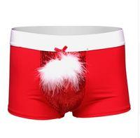 6f617f5fd7ee1d Pantaloncini da pugile da uomo, intimo di Natale di Capodanno 2016,  piumetta + pezzo di perline hanno costumi di Halloween da uomo sexy di  colore rosso S-XL