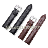 Wholesale 16 Mm Strap Steel - Wholesale-Wholesale Durable Men Women Genuine Leather Stainless Steel Buckle Strap Watch Band 16 18 19 20 21 22 24 mm Black Brown