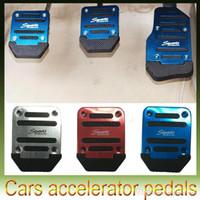 Wholesale Pedal Car Blue - New Aluminum Car Universal Non-slip Foot Pedal Accelerator Pedal Brake Pedal Manual Transmission Silver Blue Red