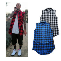 Wholesale men new swag style clothes online – oversize new casual Mens Summer Style Tyga Swag Hip Hip Hiphop Top Tees T Shirts Red Black Blue Plaid Side zipper Urban Clothing Clothes
