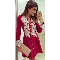 Wholesale Vintage Crochet Dresses For Women - New products Autumn Winter Dresses For Womens Midi Dress Crochet Vestidos Casual Dress Red Long-Sleeve V-Neck Cardigan Ladies Party Dresses