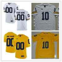 Wholesale People Football - Michigan Wolverines College Football #9 Donovan Peoples-Jones 10 Devin Bush 17 Tyrone Wheatley White Yellow Navy Stitched Jersey S-3XL