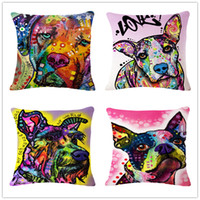 Wholesale Dog Cases Covers - Cotton linen multi-color style cushion cover sofa car office home decorative pillows case lovely dog 45*45cm Throw pillow covers