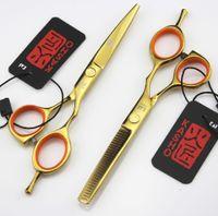 Wholesale Golden Scissors - 715# 5.5'' Brand Kasho Golden TOP GRADE Hairdressing Scissors 440C 62HRC Barber's Cutting Scissors Thinning Shears Human Hair Scissors