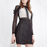 Wholesale Black Color Block Dress - New design fashion women's sexy long sleeve ruffles patchwork black white color block lace hollow out pencil short dress SML