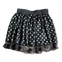 Wholesale Dual Skirts - Women Polka Dot Dual Layer Lace Chiffon Mini Pleated Short Skater Skirt