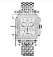 Wholesale Rectangle Function - Luxury watches Stainless steel bracelet Michele Deco Diamond Chronograph Day Date Fully Function Quartz Watch Fashion Women's Dress Watches