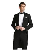 Wholesale Swallowtail Tuxedo - Wholesale-2016 New Swallowtail Custom Mens Groom Suit Men Groom Costume Tailored Tuxedo Magician Command( Jacket+Pants+BowTie)