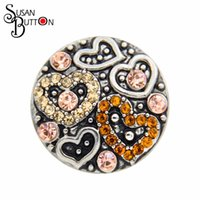 Wholesale chunky rhinestone bracelets - New 12pcs lots Rhinestone Crystal Silver Heart Snap Jewelry Charms 18mm Ginger Chunky Snap Button Charms Accessories For Snap BraceletSB402