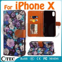 Wholesale Wholesale Storage Case - For iPhone X Leather Wallet Case Ink and Wash Painting Pattern With Stand Card Slot Photo Storage TPU Inside Holder Earpiece Hole