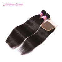 Wholesale Cheapest Straight Weave - 7A mink Peruvian straight human hair bundle lace closure Cheapest Peruvian human hair 2 bundles with 1 lace closure peruvian straight weave