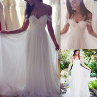 Wholesale Beach Wedding Reception Dresses - 2017 Off Shoulder Wedding Dresses Ivory Tulle A-line Pleats Sweetheart Summer Beach Bridal Gowns Reception Simple Robes De Mariage