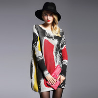 2017 Lange Pullover Frauen Pullover Frühling Oversized Pullover Casual Batwing Ärmel Print Mode Frau Pullover Kleidung Pullovers