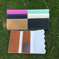 Wholesale Wholesale Note Cards Blank - Wholesale Blanks PU Faux Leather Wallets Scalloped Purses Long Money Bag Clutches Brown Black Pink Mint Color DOM103389