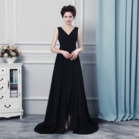 Wholesale Sexy Black Wrap Dress - Long Evening Gowns Vestido Mae Da Noiva 2017 Sexy Split Black Chiffon Prom Dress Women Evening Dresses