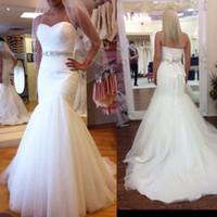 Wholesale Tulle Sweetheart Beading Wedding Dress - Tulle mermaid wedding dress sweetheart waist beading sash lace up back bridal wedding dresses 2016 wedding gown