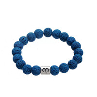 Wholesale Rock Wristbands - Top Selling New Design Metal Zodiac Alloy Charm Bangles Deep Blue Volcanic Rock Beads Bracelet Constellation Pattern Wristbands