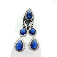 Wholesale Gold Blue Gem Earring - Deep Blue Gems Flower Style Topaz Sterling Silver 925 jewelry Sets For Women Silver Drop Earrings Rings Free Jewelry