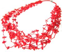 Boa qualidade Mulheres Festa Multi Layer Chokers Stement Handmade Strings Red Necklace Beads Imitação Coral Charm Girl Necklace Fashion Jewelry