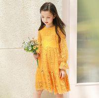 Wholesale Crochet Sleeves Dress Girl - Girls Flower Dresses Baby Girls Crochet Lace Dresses Kids Girls princess Long sleeve Dress 2017 Kids Autumn Clothing