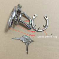 Wholesale Steel Lock Urethral Sound - Magic lock new chastity devices with urethral sounds cock cage with spikes anti-off ring stainless steel small male chastity device
