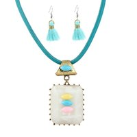 Wholesale Retro Miao Collar Necklace - Retro Blue Tassel Jewelry Set Feamle Bohemia Fashion Ethnic Bijoux Christmas Gift Maxi Collar Acrylic Earring Necklaces for Women Wholesale