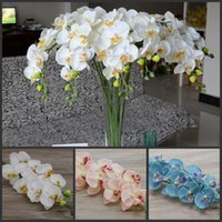 """Wholesale Butterflies Decoration For Weddings - 78cm 30.71"""" Length blue Phalaenopsis silk Butterfly Orchid flower for Christmas Home Ornament Party Decorations supplies 10pcs lot"""