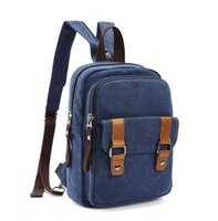 Wholesale High Density Bags - Factory direct fashion simple Brand canvas female Backpack Bag Retro High Density canvas mens shoulders bag brand casual outdoor bag