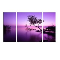 Wholesale Purple Picture Frames - 3 Picture Combination Purple light Black Tree Abstract Oil Printing Modern Fashion Decoration Painting On Living Room Without Frame
