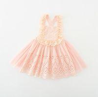 Wholesale Korean Style For Autumn - Hug Me Girls Dress for Kids Clothing 2016 Summer Suspender Lace Tutu Dress Korean Fashion Sleeveless Flowers Princess Party Dress MK-794