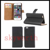 Wholesale Iphone Real Leather Pouch - For iphone 7 Plus 5SE 6 6S Samsung S5 S6 S7 Edge Plus Note 7 Real Leather Wallet Flip Case Card Slot Stand